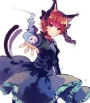 1girl :3 black_dress bow cat_tail closed_mouth dress dress_lift hair_bow ikeuchi_tanuma kaenbyou_rin looking_at_viewer magic multiple_tails nekomata official_art red_eyes redhead simple_background skull smile solo standing tail touhou two_tails white_background