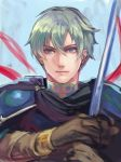 1boy armor blue_eyes cape ephraim fire_emblem fire_emblem:_seima_no_kouseki fire_emblem_heroes gloves green_hair kokouno_oyazi looking_at_viewer male_focus short_hair smile solo