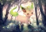 :3 brown_eyes closed_mouth commentary_request day forest from_side gen_4_pokemon grass leaf leafeon looking_at_viewer manino_(mofuritaionaka) nature no_humans pokemon pokemon_(creature) signature smile solo tree