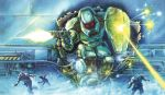 90s armor assault_suits_series attack body_armor box_art cropped damaged deflect dirty energy_beam gloves glowing glowing_eyes helmet mecha red_eyes running scan scared science_fiction shield surprised tom_dubois traditional_media valken