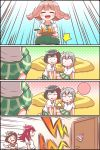 4koma 5girls =3 ^_^ afterglow_(bang_dream!) aoba_moka bang_dream! bangs black_hair bob_cut brown_hair character_name closed_eyes collared_shirt comic cup cushion door drinking_glass drinking_straw emphasis_lines flying_sweatdrops green_neckwear green_skirt grey_hair haneoka_school_uniform hazawa_tsugumi highres holding holding_tray implied_pantyshot jitome kyou_(user_gpks5753) long_hair low_twintails medium_hair michelle_(bang_dream!) miniskirt mitake_ran multicolored_hair multiple_girls necktie open_mouth out-of-frame_censoring plaid plaid_skirt pleated_skirt polka_dot polka_dot_background redhead shirt short_hair shouting silent_comic sitting skirt skirt_up smile speech_bubble speed_lines spoken_color streaked_hair sweatdrop sweater_vest tray trembling triangle_mouth twintails udagawa_tomoe uehara_himari white_shirt wide-eyed wind wind_lift