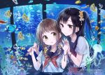 aquarium black_hair blue_background blush brown_eyes copyright_name fish food fruit hands_up highres looking_at_another melon official_art original ponytail school_uniform serafuku short_twintails smile starfish_hair_ornament twintails upper_body wristband yukiko_(tesseract) yuri