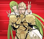 1boy 1other androgynous armor blonde_hair chin_grab closed_eyes collarbone commentary double_v earrings enkidu_(fate/strange_fake) eyebrows_visible_through_hair fate/grand_order fate/stay_night fate/strange_fake fate_(series) fingernails full_armor gilgamesh green_eyes green_hair grin hair_between_eyes jewelry long_hair male_focus motion_lines natsu_yasai red_background red_eyes robe shaded_face smile toga v very_long_hair white_robe