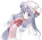 1girl bangs blunt_bangs blush bow closed_mouth crescent crescent_moon_pin dress hat hat_bow hat_pin ikeuchi_tanuma long_hair looking_at_viewer neck_ribbon patchouli_knowledge pillow_hat purple_hair red_bow red_neckwear red_ribbon ribbon simple_background sketch solo touhou violet_eyes white_background white_hat