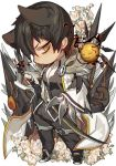 black_hair blade_master_(elsword) chibi electricity elsword flower mechanical_arm pika_(kai9464) raven_(elsword) spikes tagme