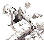 1girl bare_arms bare_shoulders bike_shorts clenched_hand dutch_angle highres legs_apart monochrome navel open_mouth original outstretched_arm robot_joints short_hair simple_background solo standing white_background