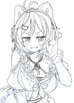 1girl animal_ears antenna_hair bangs blush breasts cat_ears cleavage commentary dennou_shoujo_youtuber_shiro dress frilled_dress frills hair_between_eyes hair_ornament hairclip hand_up highres jitome looking_at_viewer monochrome open_mouth ribbon shiro_(dennou_shoujo_youtuber_shiro) short_hair sketch smile solo swept_bangs tokunou_shoutarou underwear virtual_youtuber