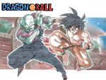 2boys abs antennae areolae barefoot battle black_hair chest clenched_hand clenched_teeth copyright_name dougi dragon_ball eyebrows_visible_through_hair full_body green_skin hands_up looking_at_another medium_hair multicolored multicolored_skin multiple_boys muscle piccolo pointy_ears purple_skin shirtless son_gokuu sweat teeth toes torn_clothes tsuki_wani v-shaped_eyebrows v-shaped_eyes