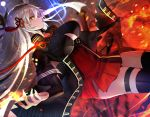 1girl black_legwear breasts chains cleavage collarbone cowboy_shot fate_(series) fire floating_hair hair_between_eyes hair_ribbon high-waist_skirt highres koha-ace large_breasts long_hair miniskirt nayuta_(una) okita_souji_alter_(fate) petals pleated_skirt red_ribbon red_skirt ribbon silver_hair skirt solo thigh-highs thigh_strap very_long_hair yellow_eyes