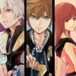 1girl blue_eyes brown_hair commentary_request fingerless_gloves gloves jewelry kairi_(kingdom_hearts) kingdom_hearts kingdom_hearts_ii multiple_boys necklace ramochi_(auti) redhead riku short_hair silver_hair sora_(kingdom_hearts) spiky_hair
