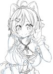 1girl animal_ears antenna_hair bangs blush breasts cat_ears cleavage closed_mouth commentary dennou_shoujo_youtuber_shiro dress frilled_dress frills hair_between_eyes hair_ornament hairclip hand_up highres looking_at_viewer monochrome ribbon shiro_(dennou_shoujo_youtuber_shiro) short_hair sketch smile solo swept_bangs tokunou_shoutarou underwear virtual_youtuber