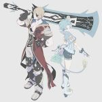 1girl alternate_hair_color armor blonde_hair blue_hair curly_hair eyepatch fingerless_gloves glasses gloves hat jacket opaque_glasses pointy_ears saika_(xenoblade) short_hair sieg_b_goku_genbu smile sword tsubo_(hcc6qqcp347q) weapon xenoblade_(series) xenoblade_2