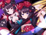 2girls :< bangs bare_legs bare_shoulders barefoot black_hair black_kimono blue_eyes blush breasts calligraphy_brush checkered closed_mouth collarbone double_v dual_persona eyebrows_visible_through_hair fate/grand_order fate_(series) hair_ornament hands_up highres holding holding_paintbrush japanese_clothes katsushika_hokusai_(fate/grand_order) kimono ko_yu large_breasts long_sleeves looking_at_viewer multiple_girls obi oversized_object paintbrush parted_lips red_eyes revealing_clothes sash short_hair smile toenails triangle_mouth v v-shaped_eyebrows wide_sleeves