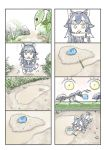 4koma animal_ears ant bug comic food grass grey_wolf_(kemono_friends) highres insect japari_bun kemono_friends ladybug multiple_4koma murakami_kou_(raye) outdoors pencil puddle silent_comic tail wolf_ears wolf_tail younger