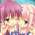 2girls ahoge azur_lane bangs blue_eyes blush collarbone commentary_request craven_(azur_lane) hair_ornament hairclip kinohara_hikaru looking_at_viewer mccall_(azur_lane) multiple_girls one_eye_closed open_mouth pink_hair portrait purple_hair school_uniform star star_hair_ornament v yellow_eyes