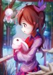 1girl animal bai_qiao blurry blurry_background bow brown_eyes brown_hair floral_print highres holding holding_animal inside long_hair long_sleeves looking_to_the_side open_mouth original profile rabbit railing rain red_bow standing teruterubouzu