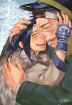 1boy 1girl absurdres ainu ainu_clothes akariri345 artist_name asirpa bandanna black_hair brown_hair cape closed_eyes crying face-to-face facial_scar fingerless_gloves fur_cape gloves golden_kamuy hand_on_another's_face hand_on_another's_head happy_tears hat highres hug long_hair military_hat open_mouth profile scar scarf short_hair signature smile sugimoto_saichi tears tree