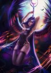 1girl alexandra_mae arms_up blurry breasts chains cleavage crescent cross-laced_clothes feathers high_heels highres horns large_breasts leotard long_hair luna_(my_little_pony) my_little_pony my_little_pony_friendship_is_magic parted_lips pelvic_curtain personification purple_hair signature solo sparkle staff thigh-highs very_long_hair violet_eyes watermark web_address wings