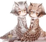 2girls alternate_costume bird_tail bird_wings brown_hair coat commentary_request eurasian_eagle_owl_(kemono_friends) eyebrows_visible_through_hair feathered_wings feathers fur_collar head_wings kemono_friends kolshica multicolored_hair multiple_girls northern_white-faced_owl_(kemono_friends) owl_ears pantyhose short_hair sitting wariza white_hair winged_arms wings