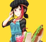 1girl alternate_hairstyle apron bang_dream! bangs beret black_hair black_hat black_shirt blue_apron blue_ribbon blush commentary_request cup drinking_glass drinking_straw food hat hat_belt hot_dog mitake_ran multicolored_hair ponytail red_neckwear redhead ribbon sandwich scratching_head shirt short_ponytail short_sleeves sidelocks simple_background single_strap solo streaked_hair striped striped_hat striped_neckwear striped_shirt tray tsukiman violet_eyes waitress wavy_mouth yellow_background