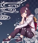 1girl bag blue_background blue_eyes blush checkered checkered_background closed_mouth fate/grand_order fate_(series) hair_bun hair_ornament hairclip hand_on_own_cheek highres jacket katsushika_hokusai_(fate/grand_order) kotoribako long_sleeves looking_at_viewer pants purple_footwear purple_hair purple_pants shoes short_hair sitting smile solo white_jacket