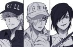 1girl 2boys baseball_cap black_hair close-up clothes_writing column_lineup cracking_knuckles greyscale grin hair_over_one_eye hat hataraku_saibou hyap killer_t_(hataraku_saibou) monochrome multiple_boys nk_cell_(hataraku_saibou) open_mouth short_hair simple_background smile u-1146 uniform walkie-talkie white_background white_blood_cell white_skin