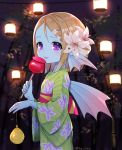1girl bamboo blonde_hair blue_skin blurry blurry_background blush candy_apple closed_mouth dragon_quest dragon_quest_x fins flat_chest flower food from_side green_kimono hair_flower hair_ornament hairclip head_fins holding japanese_clothes kimono kz_ripo lantern lily_(flower) long_sleeves medium_hair night obi outdoors sash smile solo somya_(dq10) tongue tongue_out twitter_username violet_eyes weddie_(dq10) white_flower wide_sleeves