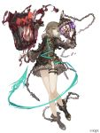 1girl aqua_eyes belt blood book broken broken_chain brown_hair chains collar cuffs eyebrows_visible_through_hair floating_book full_body fur_trim gretel_(sinoalice) hansel_(sinoalice) ji_no looking_at_viewer official_art shackles sinoalice solo thigh_strap white_background