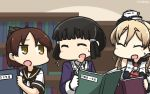 3girls ^_^ ^o^ black_hair blonde_hair book bookshelf brown_eyes brown_hair brown_sailor_collar closed_eyes commentary_request dated flying_sweatdrops gloves hamu_koutarou hat highres holding holding_book jacket kantai_collection long_hair long_sleeves mini_hat multiple_girls myoukou_(kantai_collection) open_mouth ponytail purple_jacket sailor_collar school_uniform serafuku shikinami_(kantai_collection) short_hair short_sleeves white_gloves white_hat zara_(kantai_collection)
