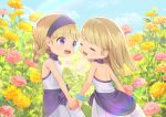 2girls :d bangs bare_arms bare_shoulders blonde_hair blue_sky blunt_bangs bracelet braid choker clouds dragon_quest dragon_quest_xi dress flower jewelry kz_ripo looking_at_another multiple_girls open_mouth outdoors pink_flower purple_choker rainbow senya_(dq11) siblings sisters sky smile straight_hair twin_braids twitter_username veronica_(dq11) violet_eyes white_dress yellow_flower