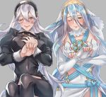 2girls aqua_(fire_emblem_if) black_dress blue_hair blush covering covering_breasts dress female_my_unit_(fire_emblem_if) fire_emblem fire_emblem_heroes fire_emblem_if gloves headband krazehkai multiple_girls my_unit my_unit_(fire_emblem_if) one_eye_closed pointy_ears red_eyes silver_hair simple_background veil white_dress white_gloves white_hair yellow_eyes