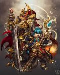 :3 :d abs animal_ears blue_eyes blue_hair book brown_pants bug butterfly claws cloak commentary commission english_commentary fangs fantasy faulds furry greaves green_eyes highres holding holding_sword holding_weapon hood hood_down hooded_cloak ice insect jewelry knight long_hair long_sleeves long_sword looking_at_viewer mage magic open_mouth original pants pauldrons plume ring sa-dui signature slit_pupils smile staff standing sword vest visor_(armor) weapon wizard