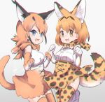 2girls :3 animal_ears belt black_hair blonde_hair blue_eyes bow bowtie caracal_(kemono_friends) caracal_ears caracal_tail commentary_request elbow_gloves eyebrows_visible_through_hair gloves high-waist_skirt jumping kemono_friends light_brown_hair multicolored_hair multiple_girls open_mouth serval_(kemono_friends) serval_ears serval_print serval_tail short_hair signature skirt sleeveless tail tatsuno_newo thigh-highs yellow_eyes