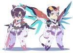 >:< 2boys aka-jishi animal_ears black_eyes black_hair chibi clenched_hand clenched_hands closed_mouth fake_animal_ears fake_tail full_body helmet hyakujuu-ou_golion keith_(voltron) kuro-jishi_(golion) lion_ears looking_at_viewer male_focus mecha_danshi mechanical_tail mechanical_wings miyata_(lhr) mullet multicolored_hair multiple_boys shadow simple_background sword tail takashi_shirogane two-tone_hair violet_eyes weapon white_background white_hair wings