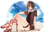 1boy alternate_costume arm_support beach brown_hair closed_mouth doushite granblue_fantasy high_heels looking_at_viewer male_focus red_footwear red_shorts sandalphon_(granblue_fantasy) sandals shorts smile solo thigh_strap