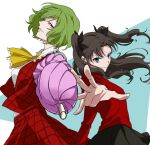 2girls ascot black_bow black_hair black_skirt bow closed_mouth closed_umbrella commentary_request crossover fate/stay_night fate_(series) green_hair grin hair_bow holding holding_umbrella karasaki kazami_yuuka looking_at_viewer multiple_girls outstretched_arm plaid plaid_skirt plaid_vest red_shirt shirt short_hair skirt smile tohsaka_rin touhou twintails umbrella vest