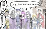 3girls 6+girls ahoge archer artoria_pendragon_(all) assassin_(fate/stay_night) bare_shoulders berserker blindfold blonde_hair blue_hair brown_hair caster chibi cloak collar commentary_request fate/stay_night fate_(series) gauntlets gilgamesh juliet_sleeves karasaki keikenchi_(style) koha-ace lancer long_hair long_sleeves microphone multiple_girls no_nose nose_bubble oda_nobunaga_(fate) pointy_ears puffy_sleeves purple_hair rider saber short_hair sketch skull_mask sleeping true_assassin white_hair