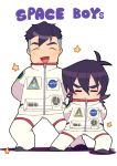 2boys =_= ^_^ arms_behind_back astronaut black_hair closed_eyes english hyakujuu-ou_golion keith_(voltron) male_focus miyata_(lhr) multiple_boys open_mouth pose smile spacesuit star takashi_shirogane voltron:_legendary_defender