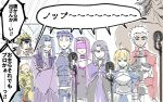 3girls 5girls ahoge archer artoria_pendragon_(all) assassin_(fate/stay_night) bare_shoulders berserker blindfold blonde_hair blue_hair brown_hair caster chibi cloak collar commentary_request crossed_arms fate/grand_order fate/stay_night fate_(series) gauntlets gilgamesh juliet_sleeves karasaki keikenchi_(style) koha-ace lancer long_hair long_sleeves microphone multiple_girls no_nose nose_bubble oda_nobunaga_(fate) pointy_ears puffy_sleeves purple_hair rider saber short_hair sketch sleeping white_hair