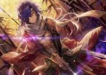 1boy bare_chest closed_mouth dutch_angle fate/grand_order fate_(series) hair_over_one_eye holding holding_sword holding_weapon japanese_clothes looking_at_viewer male_focus messy_hair okada_izou_(fate) purple_hair scarf smile solo sword tsugutoku weapon yellow_eyes