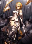 1girl armor army bare_shoulders black_gloves black_legwear blonde_hair blue_eyes braid breasts chains elbow_gloves fate/apocrypha fate_(series) flag full_body gauntlets gloves greaves helmet highres holding holding_sword holding_weapon jeanne_d'arc_(fate) jeanne_d'arc_(fate)_(all) long_hair looking_at_viewer solo_focus sword thigh-highs tsuki_suigetsu very_long_hair weapon