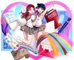 2girls :d arm_around_waist arm_up bangs barefoot belly_peek blue_feathers blue_hair book bookmark dated envelope feathers grey_skirt hair_ornament hairclip half_updo jumping long_hair looking_at_viewer love_live! love_live!_sunshine!! map mechanical_pencil mia_(fai1510) multiple_girls navel neckerchief open_book open_mouth pencil pleated_skirt rainbow redhead round_teeth sakurauchi_riko school_uniform serafuku short_sleeves side_bun skirt smile star teeth tsushima_yoshiko upper_teeth uranohoshi_school_uniform violet_eyes yellow_eyes yellow_neckwear