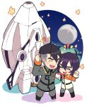 2boys ^_^ black_hair chibi clenched_hand closed_eyes full_moon hyakujuu-ou_golion keith_(voltron) male_focus miyata_(lhr) moon multiple_boys open_mouth smile space_craft star takashi_shirogane uniform voltron:_legendary_defender