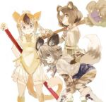 3girls african_wild_dog_(kemono_friends) african_wild_dog_print animal_ears bare_shoulders bear_ears bear_paw blonde_hair boots bow bowtie bracelet brown_bear_(kemono_friends) brown_hair circlet collared_shirt commentary_request denim denim_shorts dog_ears dog_tail elbow_gloves fang gloves golden_snub-nosed_monkey_(kemono_friends) jewelry kemono_friends konabetate leotard long_sleeves monkey_ears monkey_tail multicolored_hair multiple_girls pantyhose shirt short_hair short_shorts short_sleeves shorts sidelocks tail thigh-highs weapon white_hair