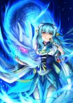 1girl blue_hair blue_kimono cowboy_shot dragon fan fate/grand_order fate_(series) floating_hair forest grin hair_ornament highres holding holding_fan horns japanese_clothes kimono kiyohime_(fate/grand_order) long_hair looking_at_viewer nature pixiv_fate/grand_order_contest_1 ribbon sanaki_(mookeymuknet) smile solo standing thigh-highs very_long_hair white_legwear yellow_eyes yellow_ribbon