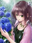 1girl black_ribbon blue_flower breasts brown_hair bubble cleavage collarbone eyebrows_visible_through_hair flower green_eyes hair_between_eyes highres holding holding_umbrella hydrangea jacket jewelry macha0331 medium_breasts neck_ribbon necklace open_clothes open_jacket open_mouth original outdoors pink_jacket rain ribbon shirt short_hair short_sleeves sleeveless sleeveless_shirt solo stairs transparent_umbrella umbrella