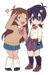 2girls ;3 black_hair black_legwear blue_eyes bow brown_hair clothes_around_waist genderswap genderswap_(mtf) grey_eyes hair_ornament hairclip hyakujuu-ou_golion keith_(voltron) kneehighs lance_(voltron) loose_socks miyata_(lhr) multiple_girls one_eye_closed open_mouth pleated_skirt school_uniform skirt sweater v
