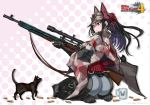 1girl absurdres animal armor ass black_cat blue_eyes boots bullet camouflage capelet cat commentary_request copyright_name cup fingerless_gloves from_side full_body gloves gun hat highres holding holding_weapon honjou_raita kai_schren kneeling lips logo long_hair military military_uniform mug official_art pants polka_dot polka_dot_background ponytail rifle scope senjou_no_valkyria senjou_no_valkyria_4 shell_casing shoulder_armor sidelocks sniper_rifle uniform weapon