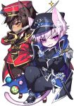 add_(elsword) animal_ears chibi elsword facial_mark looking_at_viewer pika_(kai9464) raven_(elsword) sword tagme tail uniform weapon