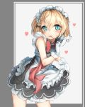 1girl absurdres apron bangs blonde_hair blue_eyes blush braid dress dress_lift eyebrows_visible_through_hair eyewear_removed flying_heart g36_(girls_frontline) girls_frontline gloves hair_between_eyes hansal highres lifted_by_self looking_at_viewer maid maid_apron maid_headdress round_eyewear short_hair side_braid sidelocks smile solo white_gloves younger
